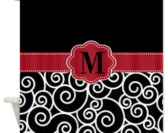 Black White Swirls and Chevron Monogram Fabric Shower Curtain - You Choose Accent Color