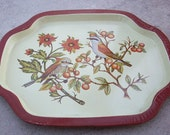 Birds and Berries Tin Snack Tray   Small Tin Tray