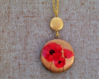 Vintage Brass Mini Locket and Red Poppy Locket Duo, Round Brass Floral Art Locket, Double Locket Necklace, Remembrance Locket