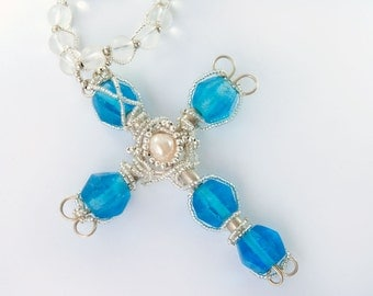 Blue Large cross pendant quartz beads Gothic Renaissance Style Freshwater Pearl Blue Czech beads Christian cross One of a kind