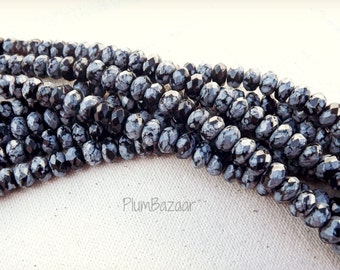 "Snowflake obsidian beads, beautiful markings, 8"" strand 8mm faceted rondelles"