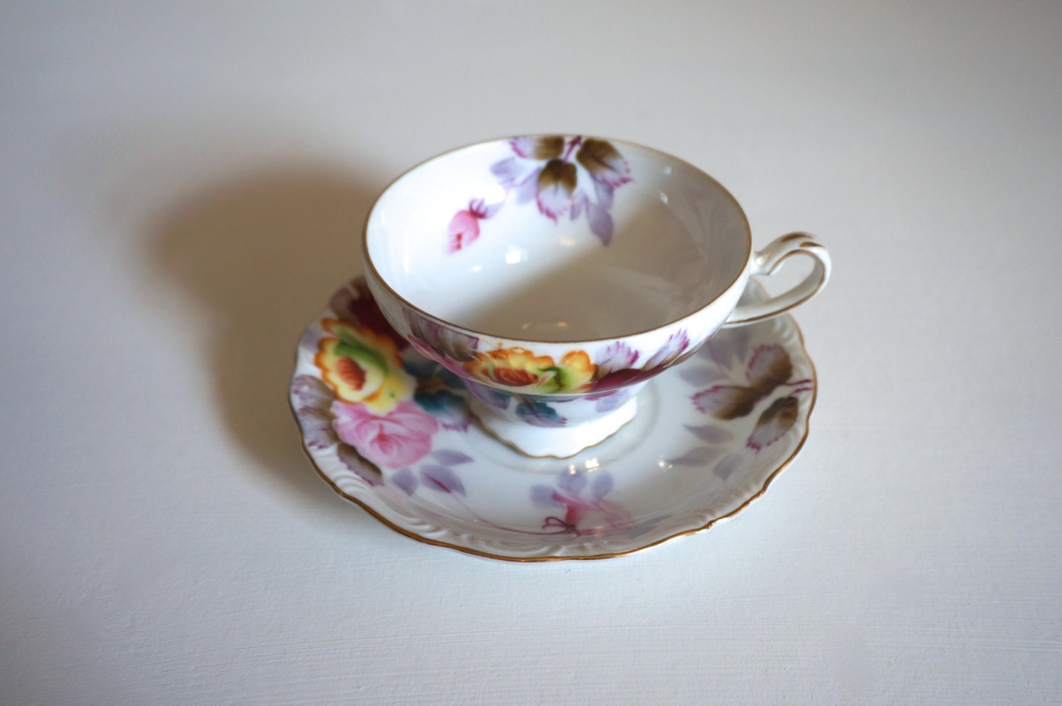 Vintage Hand Painted Tea Cup and Saucer - Norcrest Fine ...
