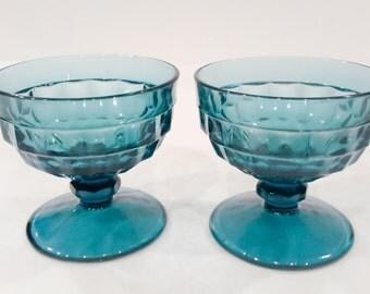 Whitehall Colony Glass Sherbets Riviera Blue Vintage