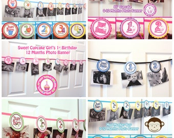 CUSTOMIZED - 0 months to 12 months photo banner picture holder- 1st year birthday party - Girl or Boy Themes - DIY Printable File or shipped