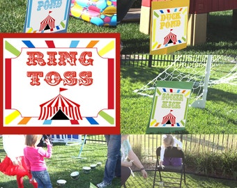 Carnival Signs Circus Signs Carnival Game Signs Circus Game signs Carnival theme party decor Sign Yard Sign Circus theme party decorations