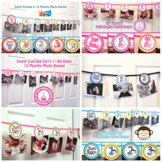 CUSTOMIZED - 0 months to 12 months photo banner picture holder- 1st year birthday party - Girl or Boy Themes -  (DIY Printable File)
