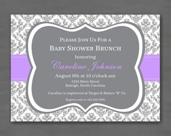 Purple Gray Damask Baby Shower Party Invitation