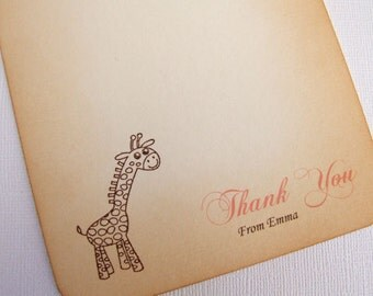 Giraffe Thank You Cards, Set of 10, Personalized, New Baby/Shower Thank You Cards, Pink, Baby Girl, Vintage Style, Choice of Fonts, 005-P
