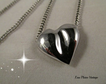 Silver Puffed Heart Necklace Vintage Shiny Silvertone