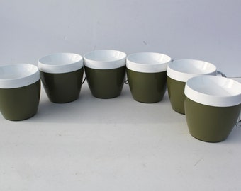 Coffee Cups Mugs Green White Wire Handle Removable NFC
