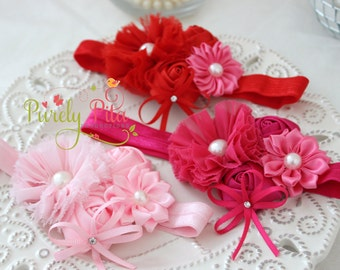 MODEL SALE Chiffon and Rosettes PInk / Hot Pink / Red Headband, Valentine's Day Headband, Baby headband, Newborn headband, Children Headband