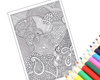 Coloring Page Printable, Zentangle Inspired, Instant Download, Paisley Zendoodle Pattern, Page 46