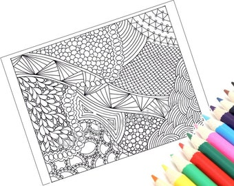 Zentangle Inspired Printable Coloring Page, Instant Download, Zendoodle Pattern, Page 49