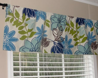"Magnolia Home Fashion Monaco Breeze Valance 50"" wide x 16"" long Big Bold Flowers Lined Blue Chartreuse Green Brown Floral"