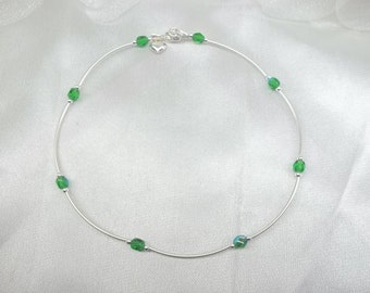 Green Emerald Ankle Bracelet Crystal Ankle Bracelet Green Crystal Anklet 925 Sterling Silver Ankle Bracelet May Birthstone BuyAny3+Get1 Free