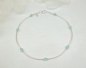 Aquamarine Anklet Cross Anklet Crystal Anklet Blue Crystal Ankle Bracelet 100% 925 Sterling Silver Anklet BuyAny3+1 Free