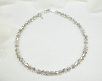 Cross Anklet Silver AB Crystal Anklet Silver Anklet Silver Ankle Bracelet Gray Anklet 100% 925 Sterling Silver  BuyAny3+Get1Free