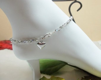 Silver AB Crystal Anklet Gray Crystal Anklet Gray Anklet Heart Anklet Swarovski Elements 100% 925 Sterling Silver BuyAny3+Get1 Free