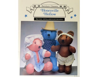 Teddy Bear Pattern, Stuffed Animal,  Dressed Bear, DIY Toy, Instruction, Pattern Booklet, Rainbow Chasers