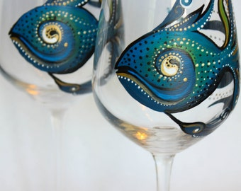 Hand Painted Wine Glass: Blue Fish, set of 2