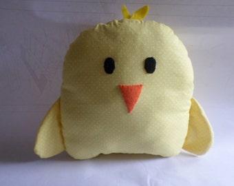 Children's Handmade Stuffed Animal Chicken, Plush Yellow Polka Dot Baby Chick, Decor, Pillow, Toy