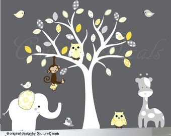 Vinyl wall decal nursery tree wall decal yellows and grey - 0187