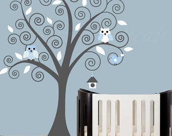 Children wall decal swirl tree wall decal owls with birds and gray tree wall sticker - 0179