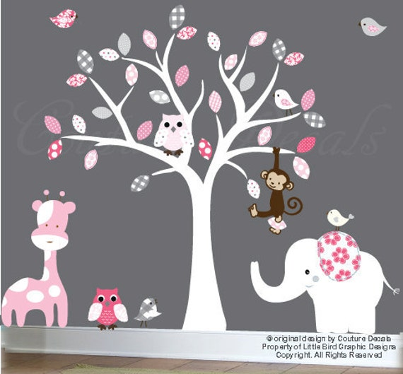 Baby wall decal white tree wall decal - white, pink, gray leaves - pink giraffe wall sticker - 0031