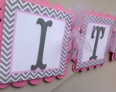 Pink and Grey Chevron Stripes It's A Girl Baby Shower Banner