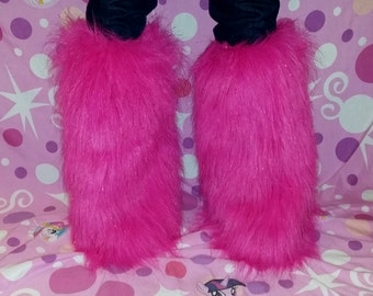 Hot Pink Fluffy Legwarmers