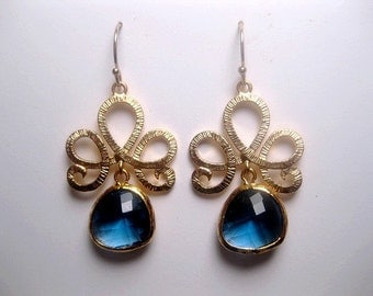 Gold Blue Sapphire Earrings -  Crystal - Dangle - With Crown - Loopy - Gold And Blue - 14k Gold Earwires