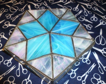 Blue Star stained glass box