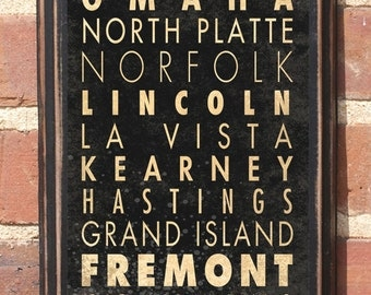 Nebraska NB Wall Art Sign Plaque Gift Present Home Decor Vintage Style Lincoln Omaha Columbus Fremont Butte Hastings Cornhuskers Antiqued
