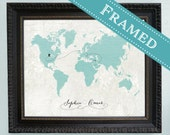 16x20 FRAMED Wedding Guest Book Alternative World Map  -  16x20 - Custom Designed