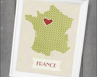 """Customized State or Country Print - France  Style - Sizes 5""""x7"""" up to 42""""x70"""""""