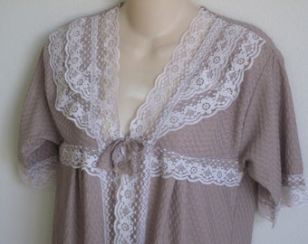 Vintage peignoir robe summer lightweight taupe blush & lace  S