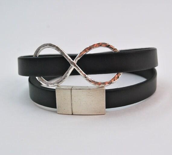 Wrap Bracelet - Infinity Silver and Black Leather Wrap Bracelet