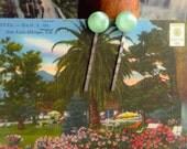 Vintage Green Moonstone Cabochon Bobby Pins