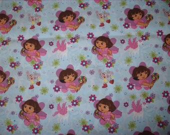 REMNANT-1/3 yard (12 inches) cotton fabric- Dora
