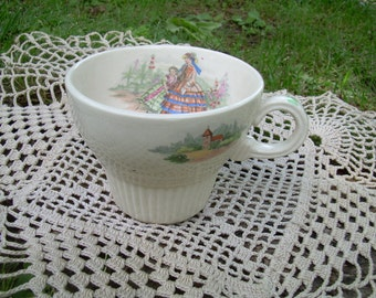 Demitasse Cup - Victorian Godey Print - Girl With Dog In Garden