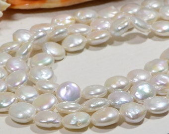 Pearls Freshwater 13x7 mm White Pearl Beads Jewelry Making Supplies