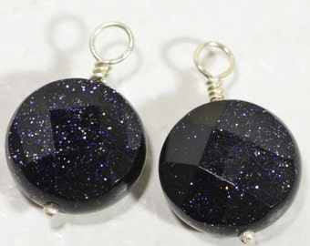Blue Goldstone Pendant Goldstone Faceted Coin Beads Wire Wrapped With Sterling Silver