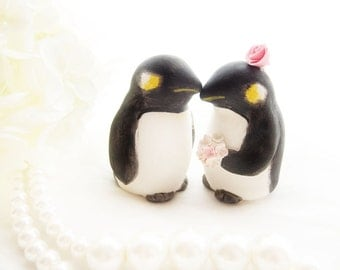 Custom Wedding Cake Toppers - Love love Penguins