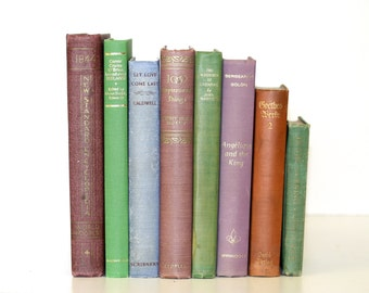 Dusty Shades Rare Vintage Book Collection Interior Design Home Wedding Decor TREASURY ITEM