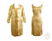 1960s golden champagne silk brocade oriental inspired wiggle dress and matching coat // size medium // silk vintage dress with coat