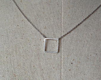 Silver Square Necklace, Dainty Necklace