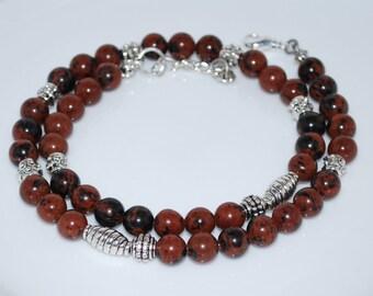 Mahogany Obsidian Necklace, Semi Precious Gemstone Necklace, Men's Necklace, Mens Necklace, Natural Gemstone Necklace, Unisex Necklace