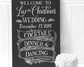 "Wedding welcome sign, 24""x36"" canvas, custom ink drawing by hand, chalkboard look"