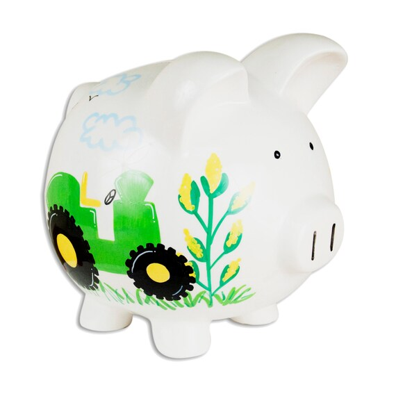 Personalized Tractor Piggy Bank For Children Hand By MyBambino