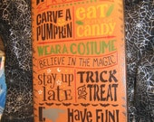 "Primitive  Holiday Wood Painted Halloween Salem Witch Subway Sign -  "" HALLOWEEN RULES ""  Witch Little Monsters Live Country  Rustic"